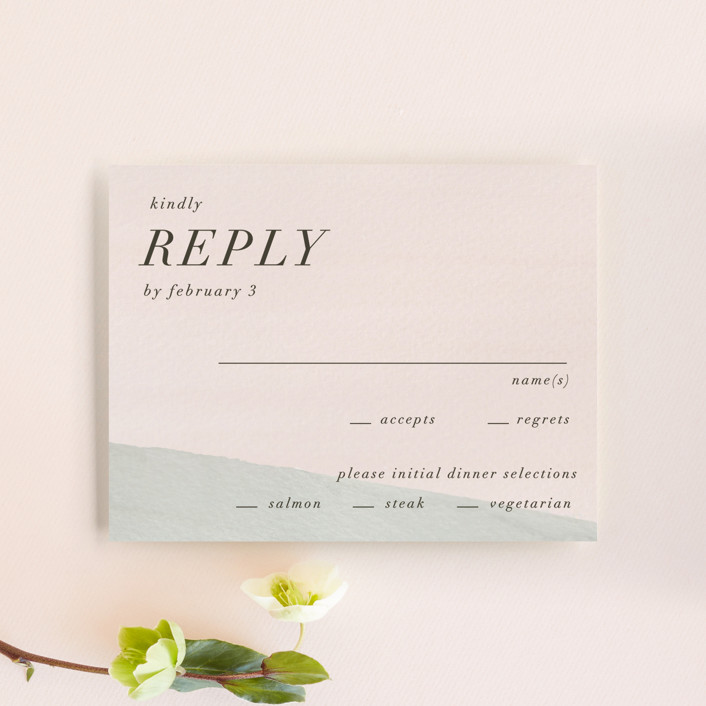 """Eleanor"" - Modern Rsvp Cards in Rose by Creative Parasol."