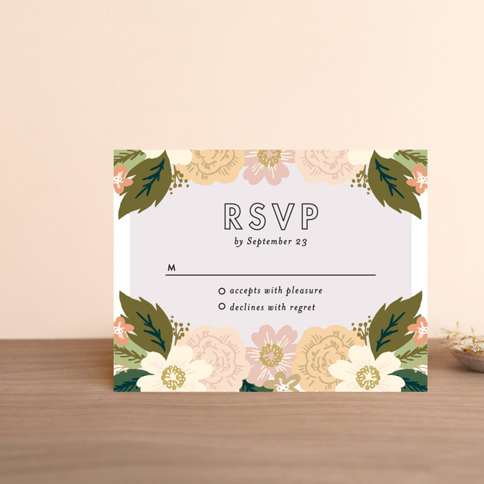 """Classic Floral"" - Floral & Botanical Rsvp Cards in Spring Blush by Alethea and Ruth."