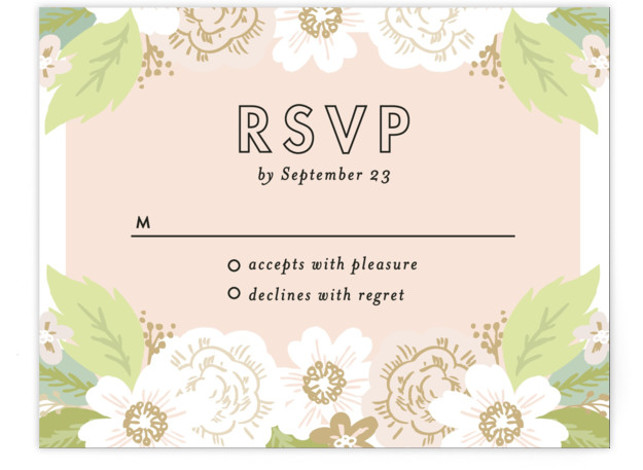 This is a landscape floral, pink RSVP Cards by Alethea and Ruth called Classic Floral with Standard printing on Signature in Card Flat Card format. This wedding invite features a cascade of flowers and classic type.