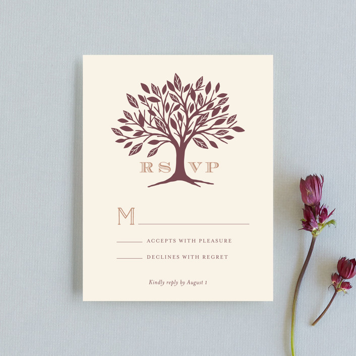 """""""Enchanted"""" - Monogrammed, Rustic Rsvp Cards in Bark by Griffinbell Paper Co.."""