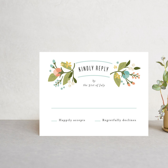 """Floral Ampersand"" - Rsvp Cards in Sea Breeze by Jennifer Wick."