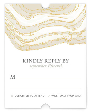 This is a portrait bohemian, rustic, beige RSVP Cards by Kaydi Bishop called Gilt Agate with Standard printing on Signature in Card Flat Card format. A classic watercolor take on chic geodes with gold foil accents serves as the background ...