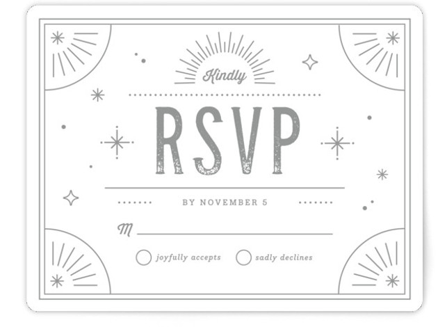 This is a landscape vintage, grey RSVP Cards by Kristen Smith called Golden Glitz with Standard printing on Signature in Card Flat Card format. A deco inspired wedding invitation with all the glitz and glam your wedding demands :)