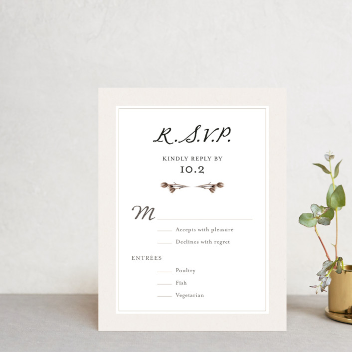 """""""Gone To Seed"""" - Bohemian Rsvp Cards in Taupe by Honeybunch Studio."""