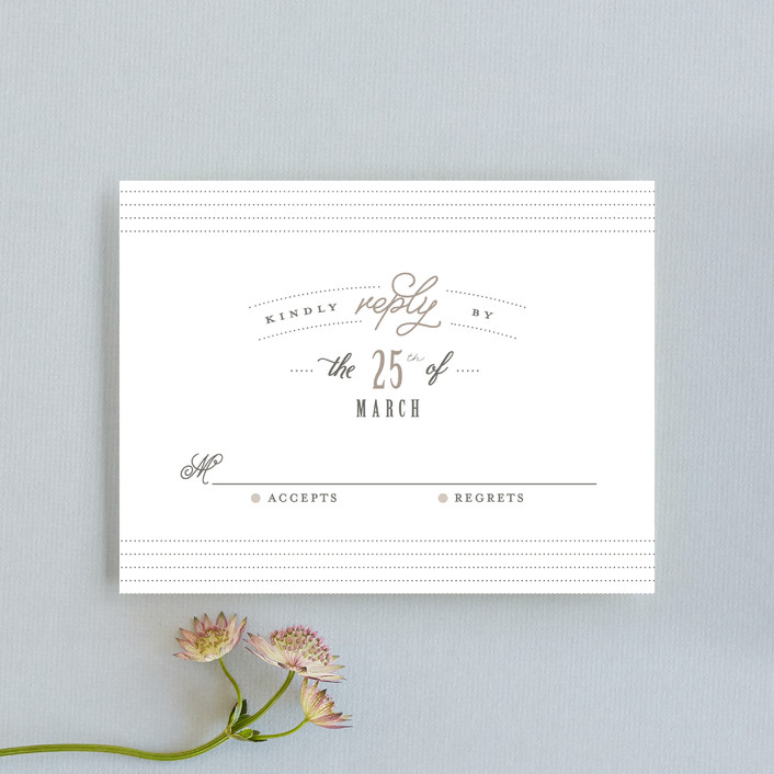 """""""Kindly Request"""" - Rsvp Cards in Charcoal by Lori Wemple."""