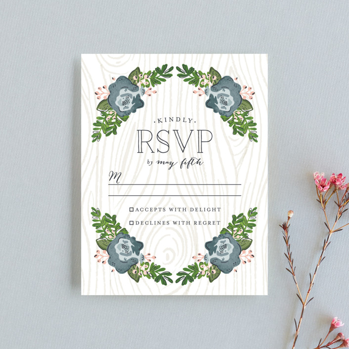 """Rustic Wooded Romance"" - Rustic Rsvp Cards in Bluebell by Pistols."