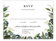 This is a blue rsvp card by Susan Moyal called Side Swept with standard printing on signature in standard.