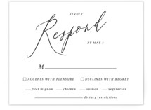 This is a black and white rsvp card by Griffinbell Paper Co. called Crescendo with standard printing on signature in standard.