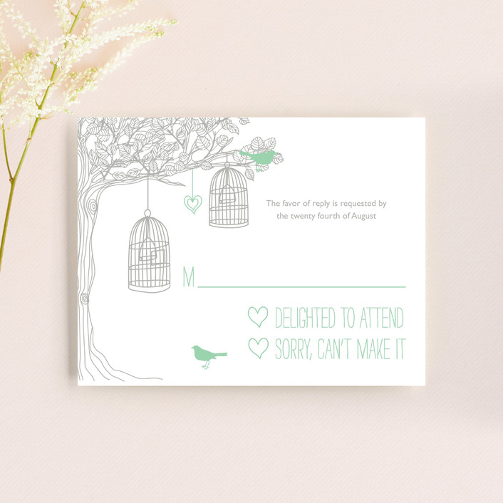 """Love Let Loose"" - Whimsical & Funny, Rustic Rsvp Cards in Seaglass by Paisley Tree Press."