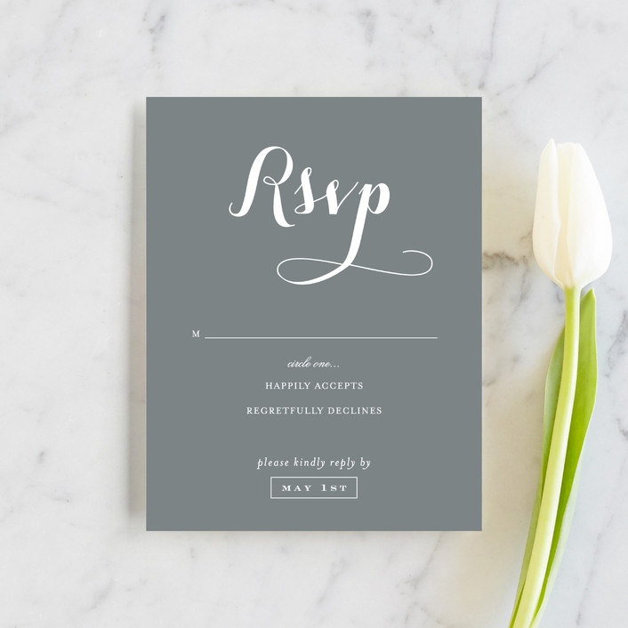 """Just Lovely"" - Classical, Simple Rsvp Cards in Grey Chalkboard by Sara Hicks Malone."