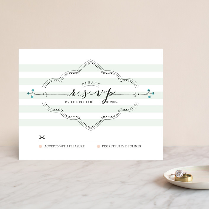 """""""Striped Sweet Nothings"""" - Classical, Modern Rsvp Cards in Romantic by Frooted Design."""