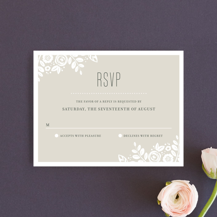 """""""White Shadows"""" - Rsvp Cards in Champagne by Jessica Williams."""