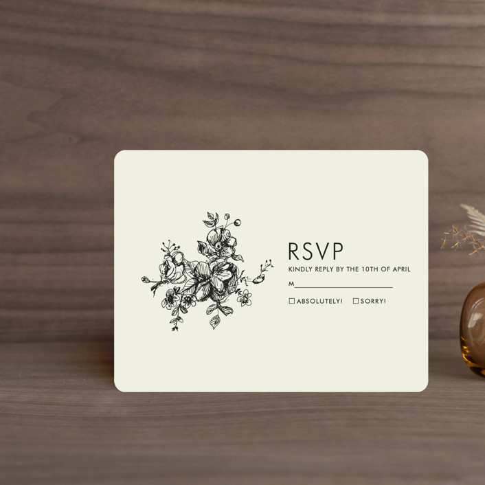 """Elegance Illustrated"" - Rsvp Cards in Beige by Phrosne Ras."