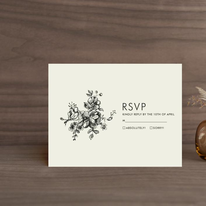 """Elegance Illustrated"" - Elegant, Formal Rsvp Cards in Beige by Phrosne Ras."