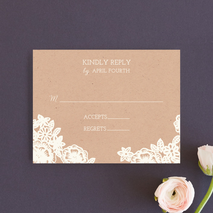 """Lace and Kraft"" - Vintage, Rustic Rsvp Cards in Kraft by Katharine Watson."