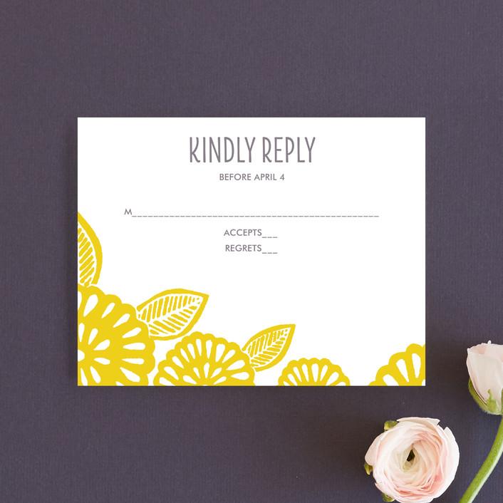 """Bold Block Print"" - Rsvp Cards in Mustard by Katharine Watson."