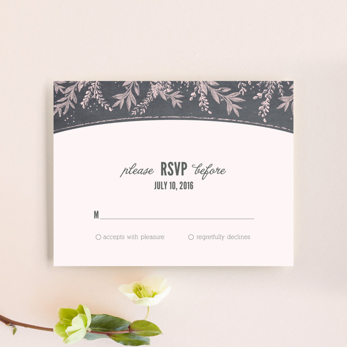 """""""Woodland Romance"""" - Rustic Rsvp Cards in Blush by cadence paige design."""