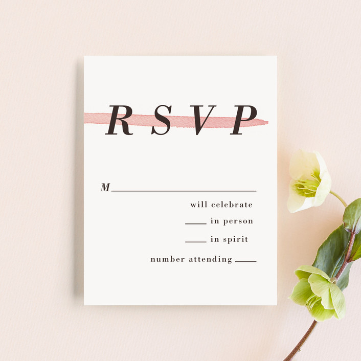 """""""Watercolor Frame"""" - Modern Rsvp Cards in Coral by Laura Condouris."""