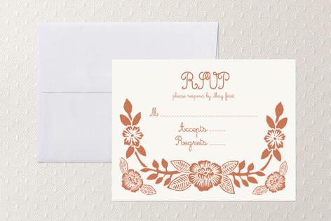 Block Printed Floral RSVP Cards