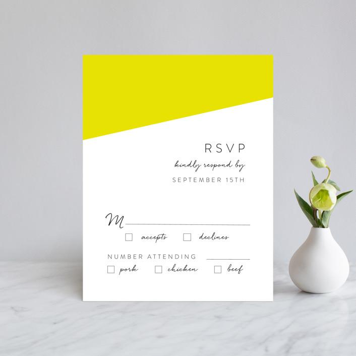 """Metropolitan Romance"" - Modern Rsvp Cards in Daffodil by Makewells."