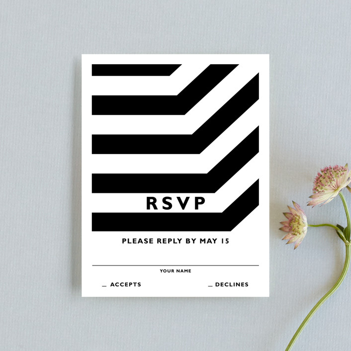 """Desenfadado"" - Rsvp Cards in Black by Aspacia Kusulas."