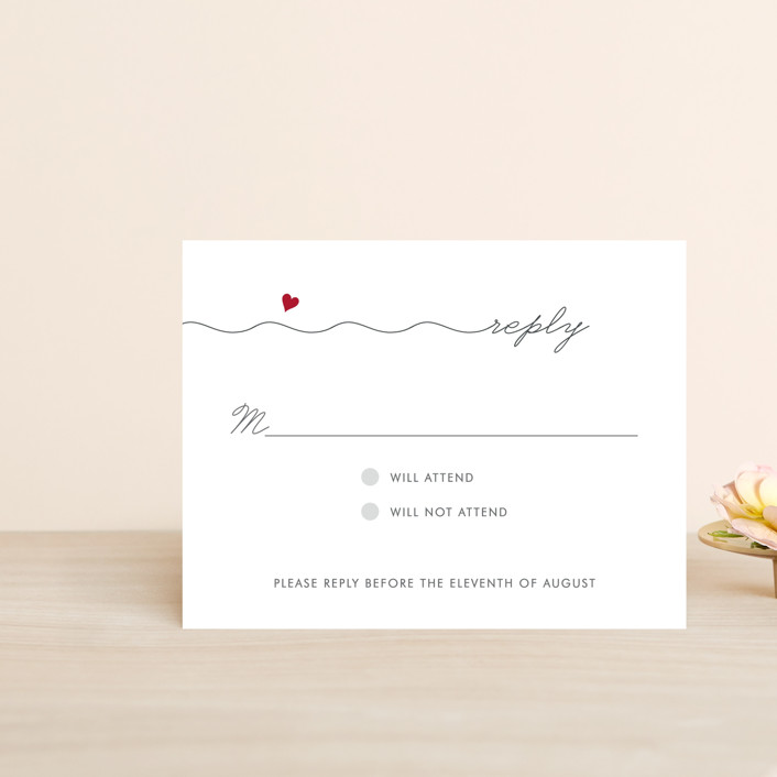 """""""Love Connection"""" - Whimsical & Funny Rsvp Cards in Red Hot by Kim Dietrich Elam."""