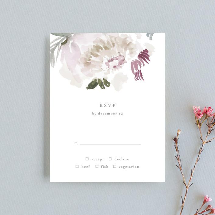 """romantic bouquet"" - Rsvp Cards in Plum by Phrosne Ras."