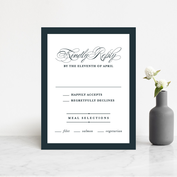 """Traditional"" - Rsvp Cards in Navy by lena barakat."