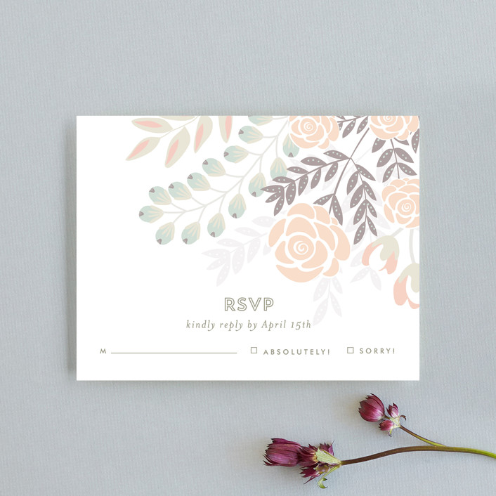 """Flower Burst"" - Floral & Botanical Rsvp Cards in Blush by Phrosne Ras."