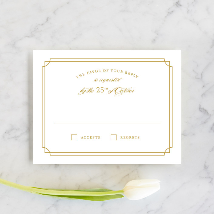 """Luxe Border"" - Formal, Classical Rsvp Cards in Gold by Sarah Brown."