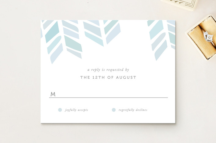 """""""Arrow Head"""" - Modern Rsvp Cards in Sky by Fig and Cotton."""