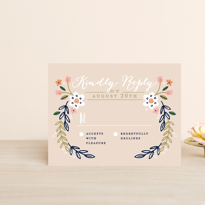 """""""Wildflower Crest"""" - Rustic Rsvp Cards in Navy by Alethea and Ruth."""