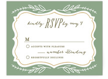 This is a beige rsvp card by Alethea and Ruth called Herb Garden with standard printing on signature in standard.