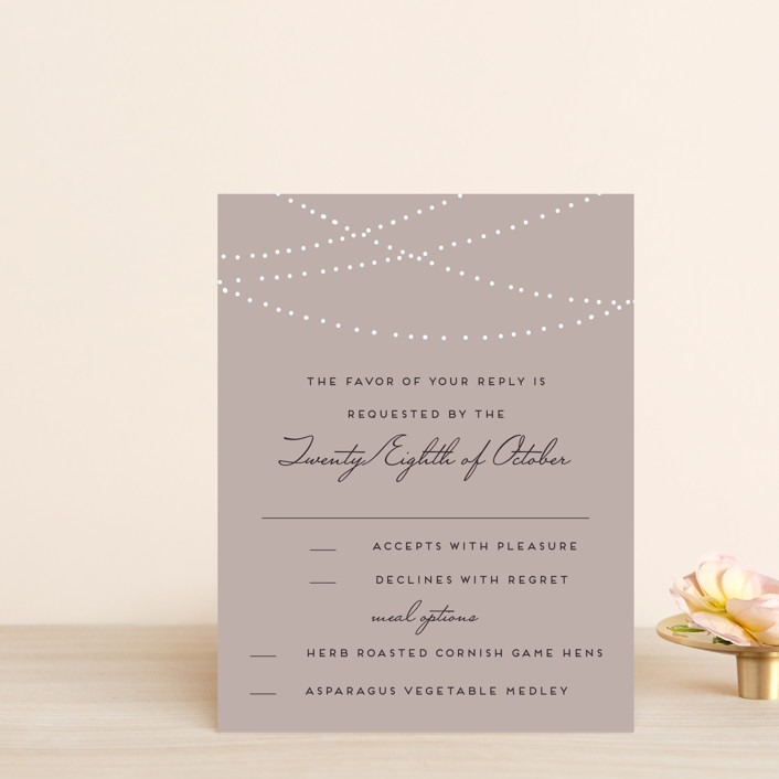 """Lavish"" - Rustic Rsvp Cards in Chalkboard by Design Lotus."
