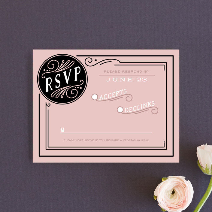 """Romantic Revelry"" - Bold typographic, Vintage Rsvp Cards in Blush by GeekInk Design."