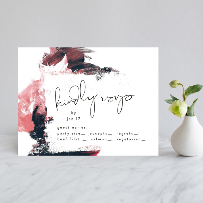 """""""living coral"""" - Modern Rsvp Cards in Coral by Phrosne Ras."""