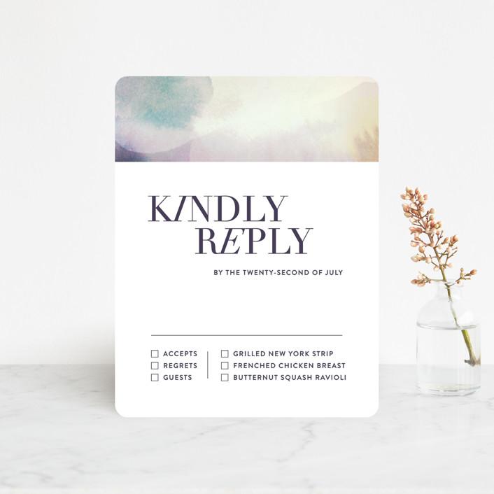 """Raptured"" - Rsvp Cards in Amethyst by Design Lotus."