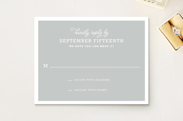 """""""Timeless"""" - Classical, Simple Rsvp Cards in Heather Grey by Oscar & Emma."""