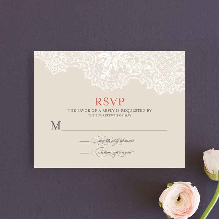 """""""White Lace"""" - Classical, Formal Rsvp Cards in Coral Rose by Lauren Chism."""