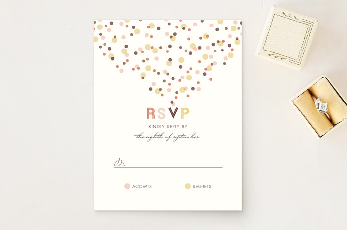 """Sweet Confetti"" - Whimsical & Funny, Simple Rsvp Cards in Champagne by fatfatin."