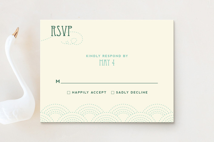 """Love Nouveau"" - Whimsical & Funny, Simple Rsvp Cards in Deep Ocean by Amanda Joy."