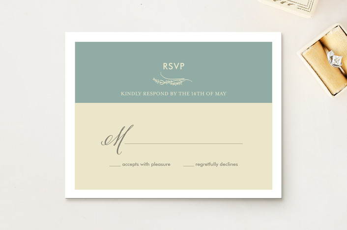 """Our Itinerary"" - Classical Rsvp Cards in Beach by Loree Mayer."