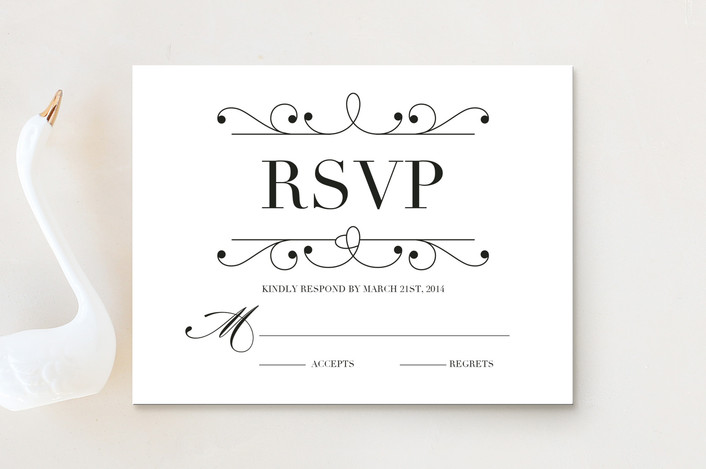 """""""Arabesque"""" - Formal, Classical Rsvp Cards in Kraft by Griffinbell Paper Co.."""