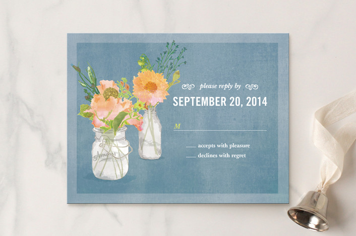 """""""Bouquet D'Amour"""" - Floral & Botanical, Hand Drawn Rsvp Cards in Heather Grey by Beth Ann."""