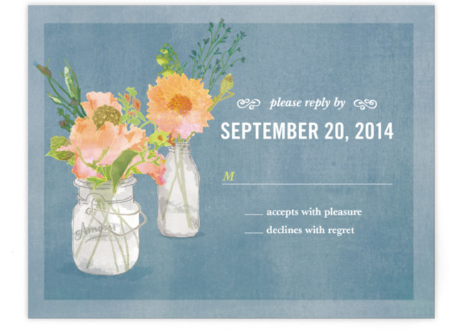 This is a landscape botanical, floral, hand drawn, illustrative, rustic, blue RSVP Cards by Beth Ann called Bouquet D'Amour with Standard printing on Signature in Card Flat Card format.
