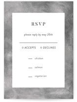 This is a grey rsvp card by raven erebus called set in stone with standard printing on signature in standard.