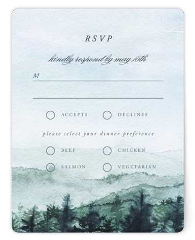 This is a destination, painterly, green RSVP Cards by Anastasia Makarova called mountain wedding with Standard printing on Signature in Card Flat Card format. Wedding invitation with watercolor illustration of mountains