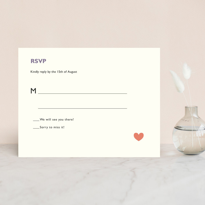 """Destination"" - Destination, Whimsical & Funny Rsvp Cards in Lilac Haze by leslie hamer."