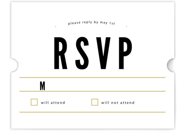 This is a landscape bold typographic, modern, simple, black RSVP Cards by Melissa Egan of Pistols called Classic Type with Standard printing on Signature in Card Flat Card format. Classic typography and a neutral palette create a versatile design that ...