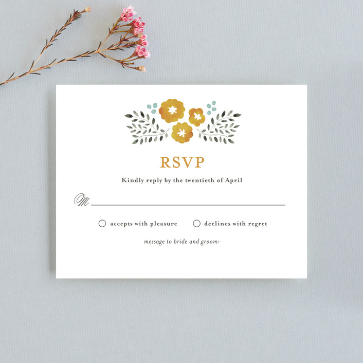 """Watercolor Wildflowers"" - Rustic Rsvp Cards in Marigold by Olivia Raufman."